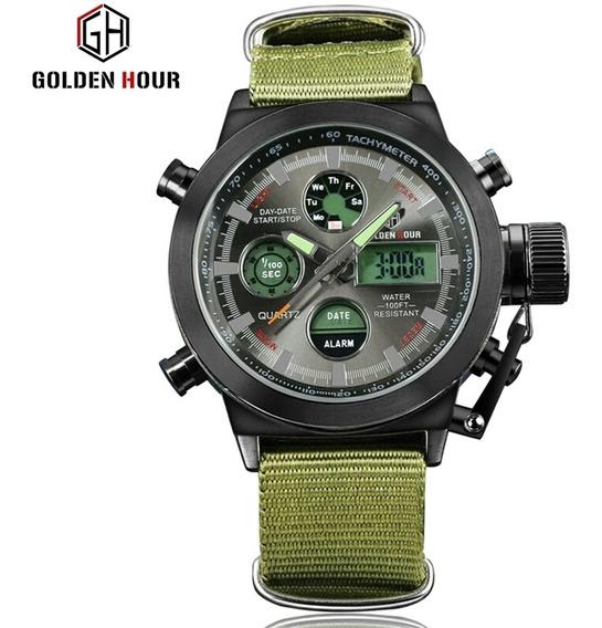 Relógio Masculino Golden Hour Militar Pulseira De Lona