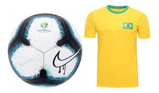 Bola Copa América Nike Rabisco E Camisa Brasil Torcedor