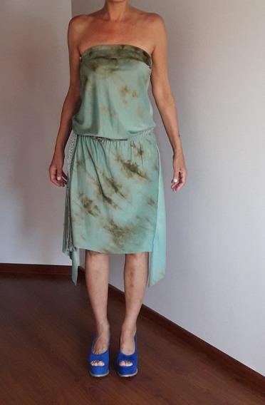 Vestido Marcela Pagella Talle M Con Lazo Tejido Artesanal