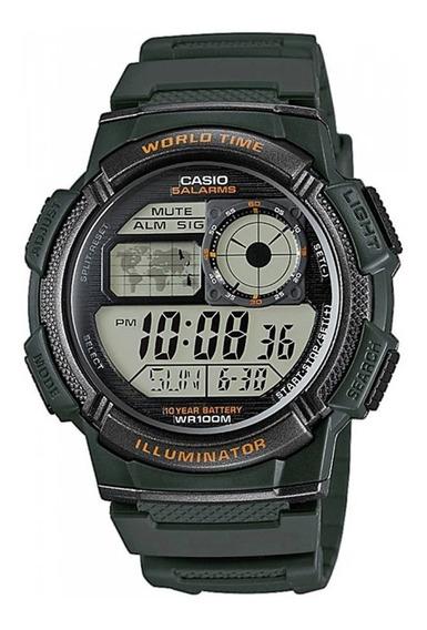 Reloj Hombre Casio Ae-1000w Verde Oscuro Digital / Lhua