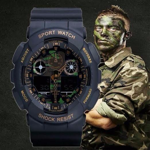 Relógio Digital Pulso Camuflado Militar Shock Exercito Sanda