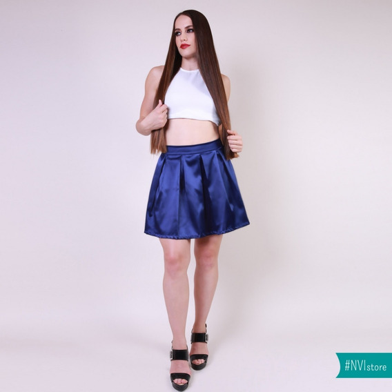 Falda Corta En Azul Y Estampado Con Pretina Y Tablones Nvi