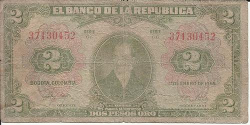 Imagen 1 de 2 de Colombia 2 Pesos Oro 1 Enero De 1955 - 8 Dígitos