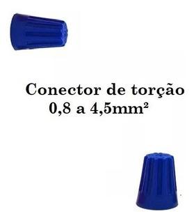 Kit 100 Conector De Torção Azul Emenda Cabos Fios 0,8 A 4mm