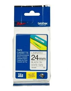 Cinta Brother Tze151 Rotuladora 24mm Negro Transparente