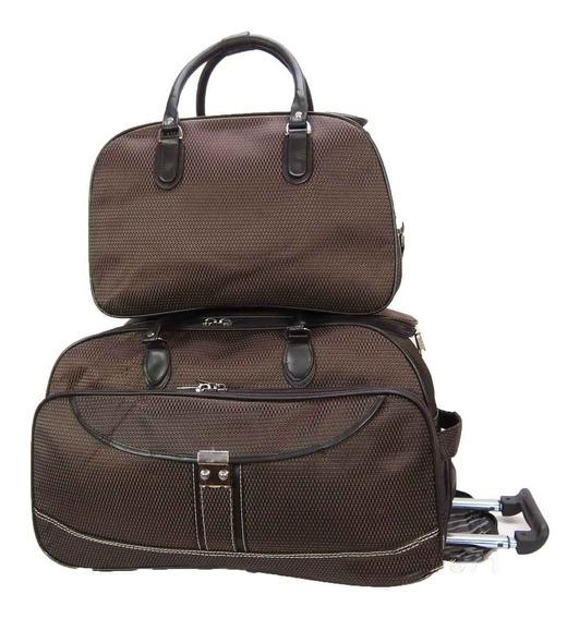 Bolsa De Viagem Com Rodinha + Bolsa De Mão Nylon Resistente