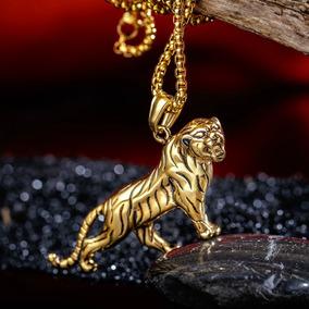 Colar Masculino Aço Banho Ouro 18k Tigre Hip Hop Joia C46