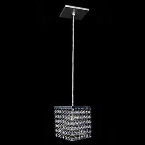 Pendente Cristal Acrilico Quadrado 11x11x12cm - At.home