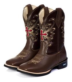 Bota Country Texana Feminina Cano Longo 100% Couro Legitimo
