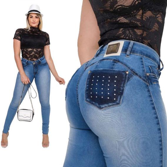 Calça Jeans Feminina Cintura Alta Premium Estilo Pitbull