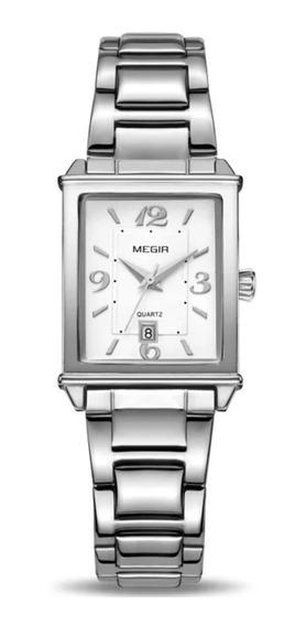 Relógio Megir De Luxo Original Pulseira Aço Modelo1079