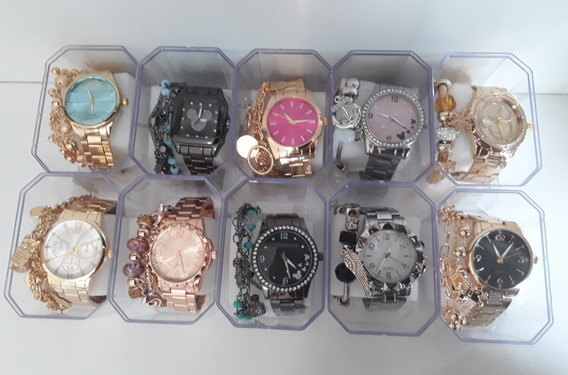 Kit C/10 Relógios Feminino+caixas+pulseiras Atacado Revenda