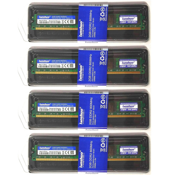 Kit 4 Memórias Ddr2 800mhz 2gb Intel E Amd Novo Lanshuo