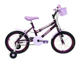 Bicicleta Bike Infantil Feminina - Aro 16 Racer Kids Lilás