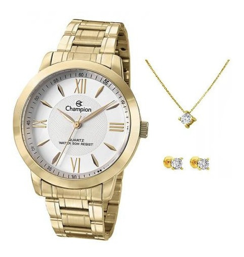 Relogio Feminino Dourado Champion Ch24697h + Kit Exclusivo