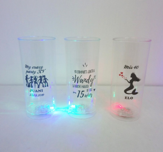 100 Vasos Luminosos Personalizados, Luces Multicolor C/botón