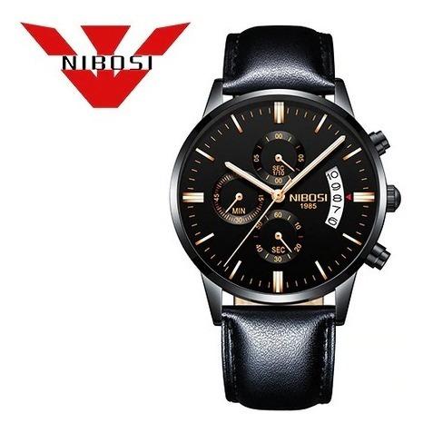 Relógio Nibosi Luxo Pulseira Couro Frete Grátis 12 X S/juros