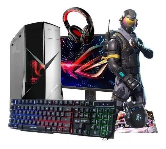 Pc Cpu Gamer Completo Intel 500gb Placa 2gb Amd Monitor 19