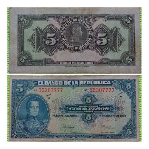 Imagen 1 de 1 de Billete De 5 Pesos Oro De 1947.