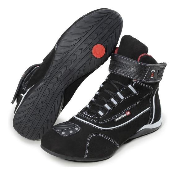 Tênis Motociclista Refletivo Cano Alto Atron Shoes Couro 310