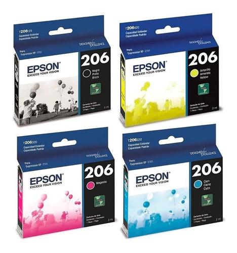 Combo Cartuchos Epson 206 Negro + 3 Colores Original Xp2101