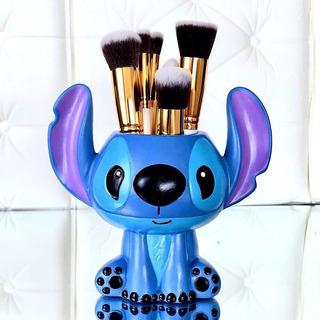 Porta Brochas De Maquillaje Decorativo Stitch Blue Figura