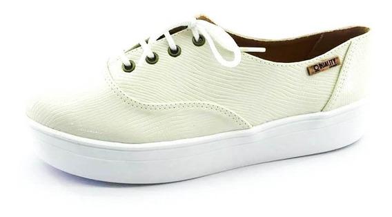 Tênis Quality Shoes Feminino 005 Verniz Branco Riscado