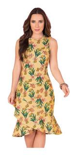 Vestido Tubinho Moda Evangélica Floral Midi Com Babado Justo