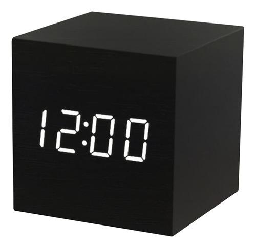 Led Madera Digital Alarma Con Día Fecha Temperatura Humedad