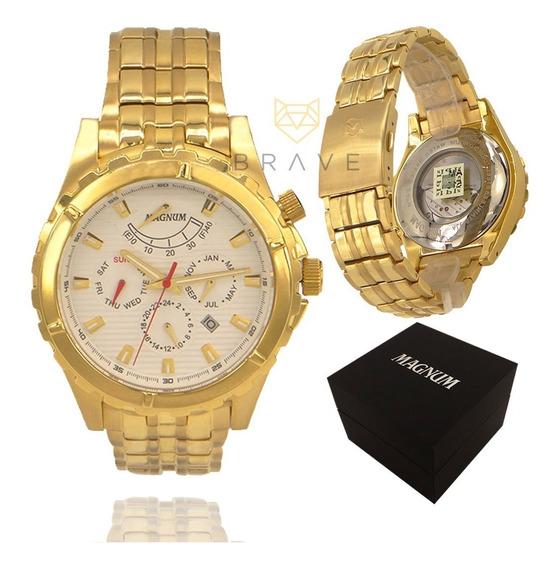 Relógio Dourado Magnum Automático 18k 2 Anos Garantia + Nf