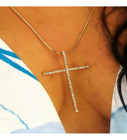 Colar Crucifixo Cruz Banhado A Ouro Cravejado De Zirconia