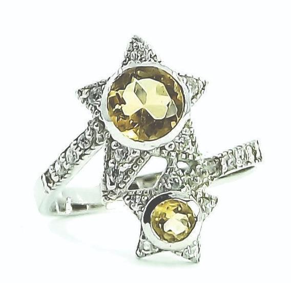 Anel Estrelas Em Prata 925 Banho Ródio Com Citrinos Naturais