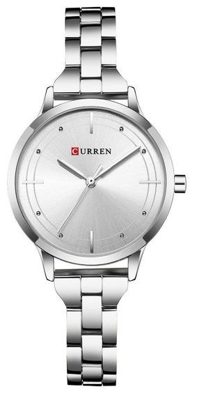 Relógio Feminino Prata Aço Inox Curren 9019 C/ Garantia E Nf