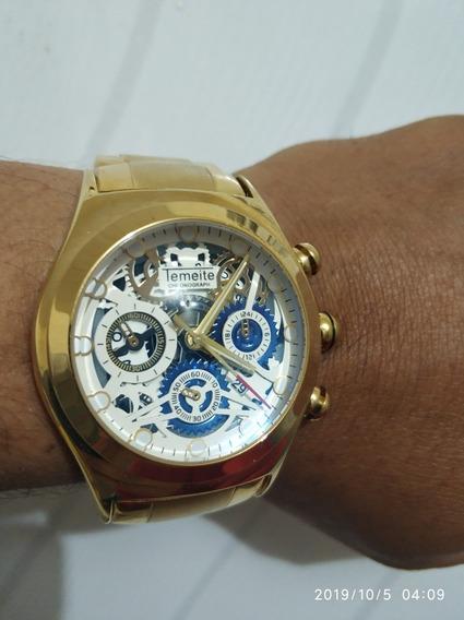 Relógio Original Temeite Dourado Banhado Ouro A Prova Dagua