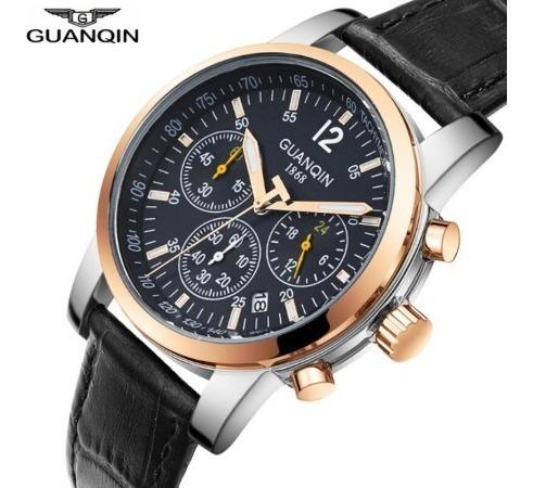 Relógio - Guanqin - Original - Pulseira Couro - Estoque