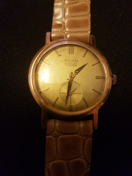Reloj De Pulsera Vintage Nivada Discus