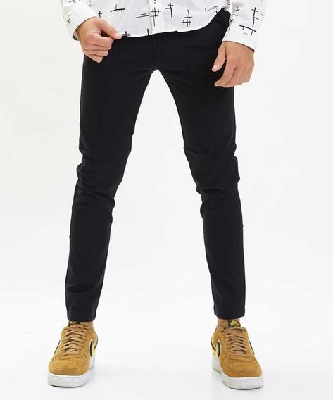 Pantalón Chino Negro Chupin Elastizado