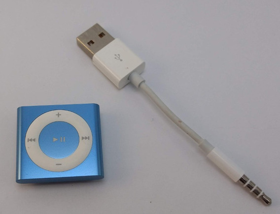 iPod Shuffle Nano Azul Com Cabo Manual E Adesivo E Sem Fones