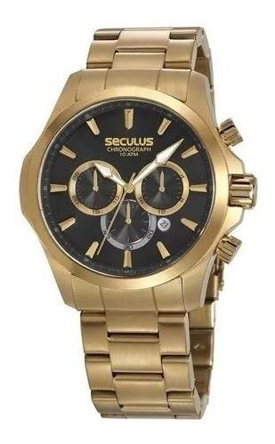 Relógio De Pulso Masculino Seculus Cronógrafo Dourado