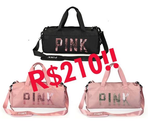 Bolsa De Academia Feminina C/ Paetê Pink Premium Impermeável