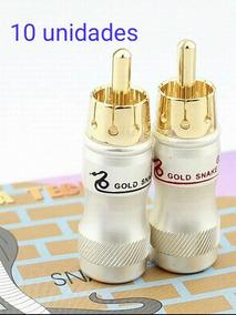 Conector Rca Plug Macho Metálico Banhado A Ouro 5 Pares