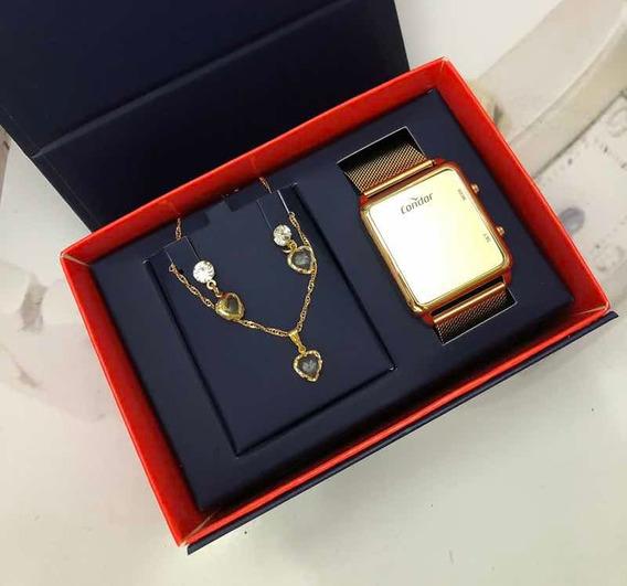 Relógio Feminino Dourado Led Espelhado Condor Cobj3382aa/4d