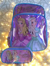 Kit Infantil Feminina Floral Mochila+estojo Duplo Princesas