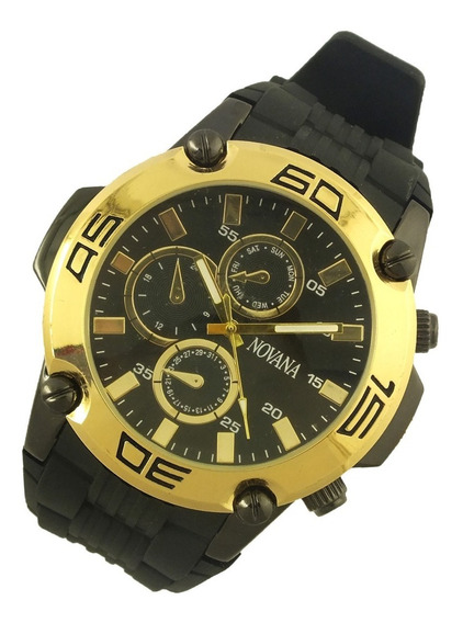 Relógio De Pulso Masculino Novana Pulseira Em Borracha B5718