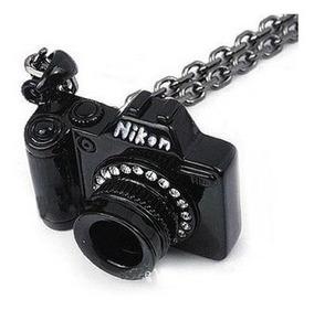 Colar Cordão Câmera Máquina Fotográfica Nikon Preta 233