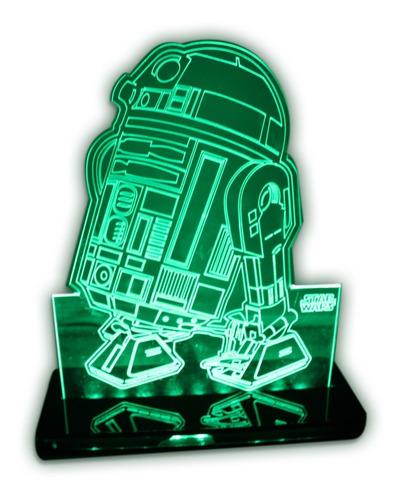 Imagem 1 de 9 de Luminária 3d - Robô Star Wars R2d2 Personagens - Verde