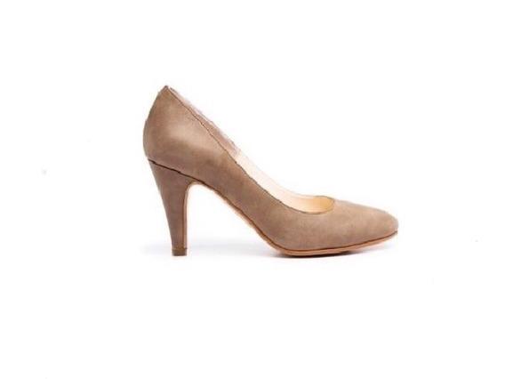 Zapato Mujer Natacha Stiletto Pta. Redonda Cuero Visón #1331