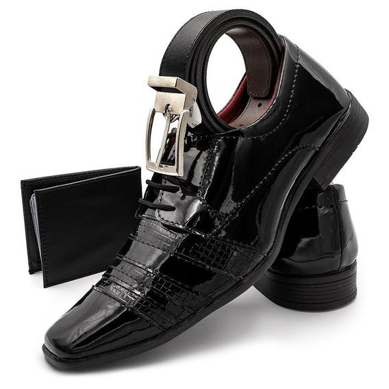 Sapato Social Verniz Texturizado Di Kapell Carteira+cinto!!