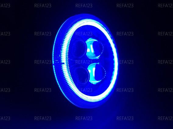 Faro Led Redondo Auxiliar 4 Lupas Arillo Luz Azul 1 Pza