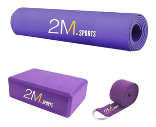 Kit Yoga Pilates Mat Colchoneta + Ladrillo Brick + Cinturón.
